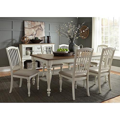 Liberty Furniture Cumberland Creek Dining 7 Piece Rectangular Table Set