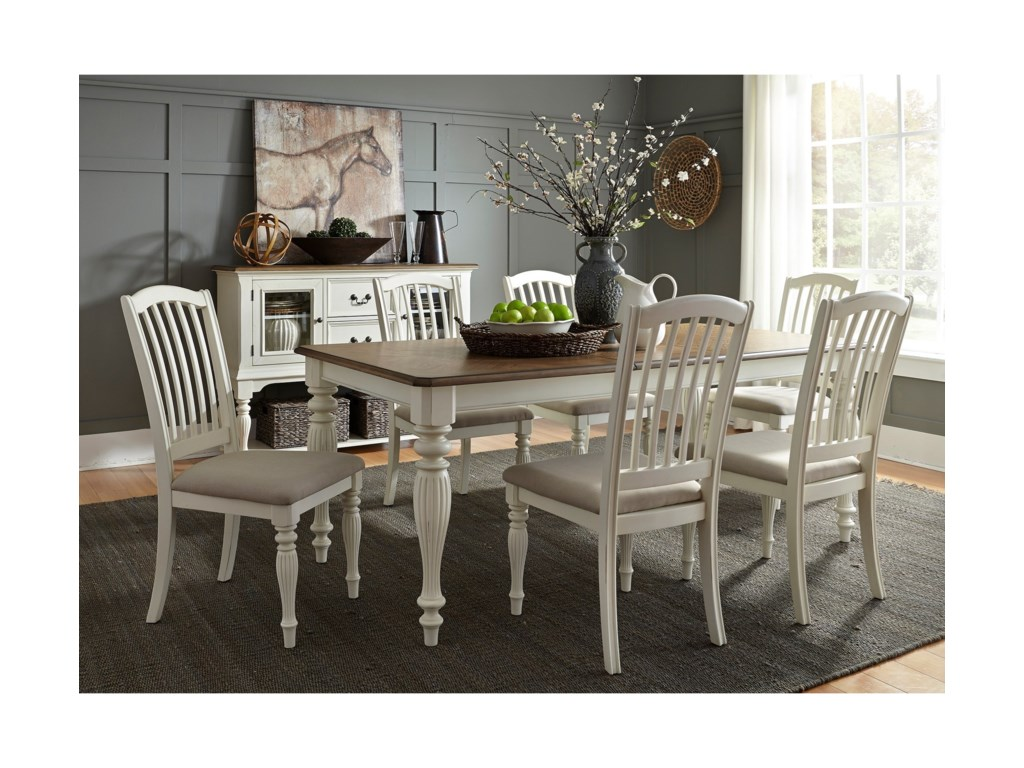 Liberty Furniture Cumberland Creek Dining7 Piece Rectangular Table Set