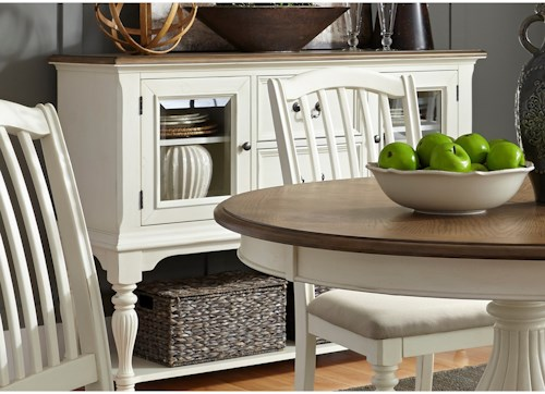 Liberty Furniture Cumberland Creek Dining Two Drawer Server with Adjustable Shelves