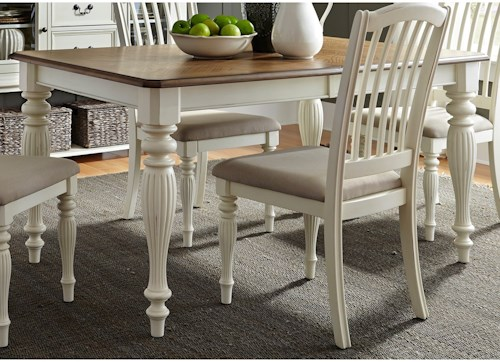 Liberty Furniture Cumberland Creek Dining Rectangular Leg Table with Leaf