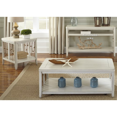 Liberty Furniture Dockside II Coastal 3 Piece Set with Rope Accents