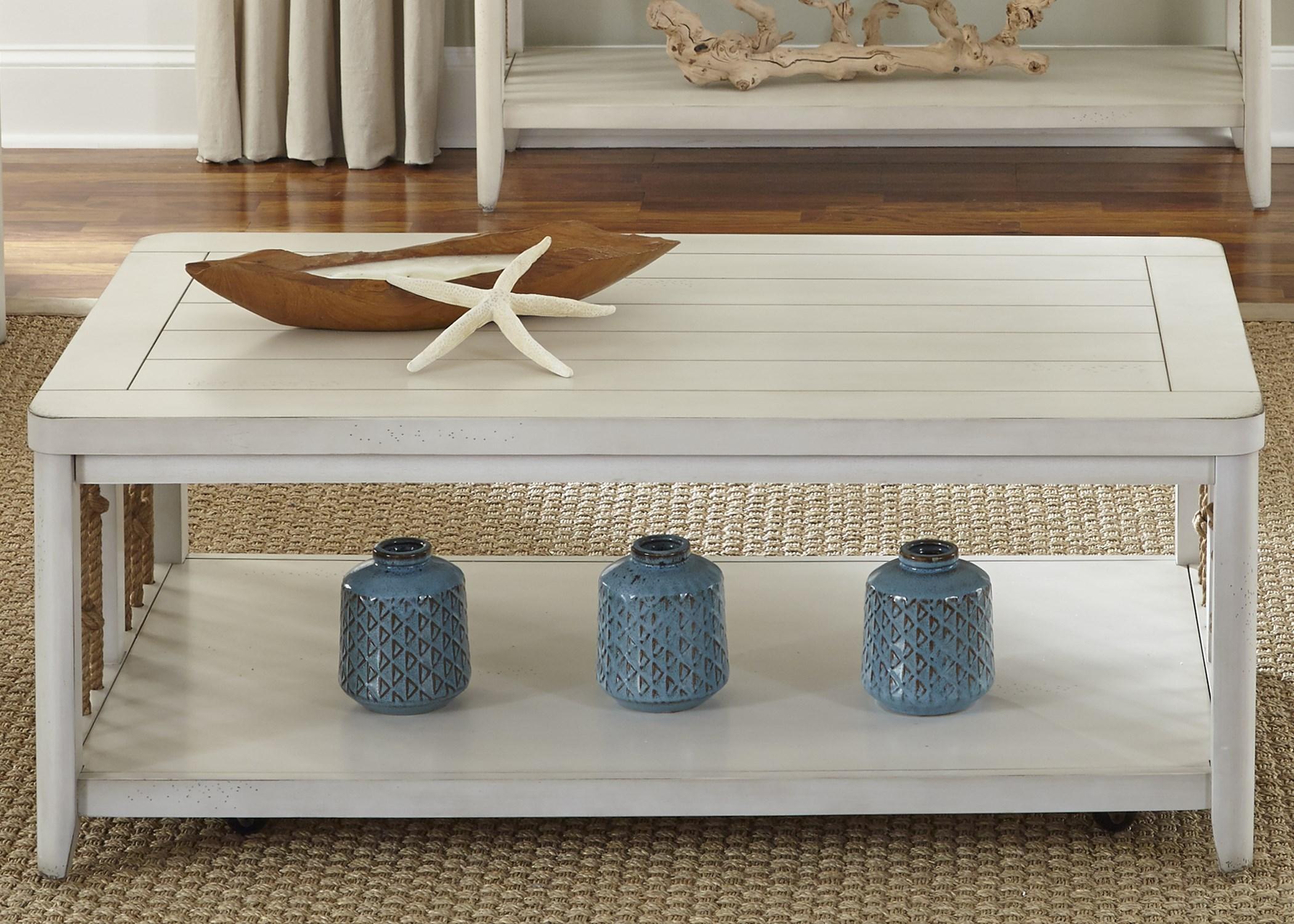 - Liberty Furniture Dockside II Coastal Cocktail Table With Rope