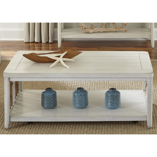 Liberty Furniture Dockside II Coastal Cocktail Table with Rope Accents