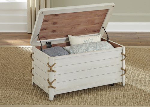 Liberty Furniture Dockside II Coastal Storage Trunk with Rope Accents