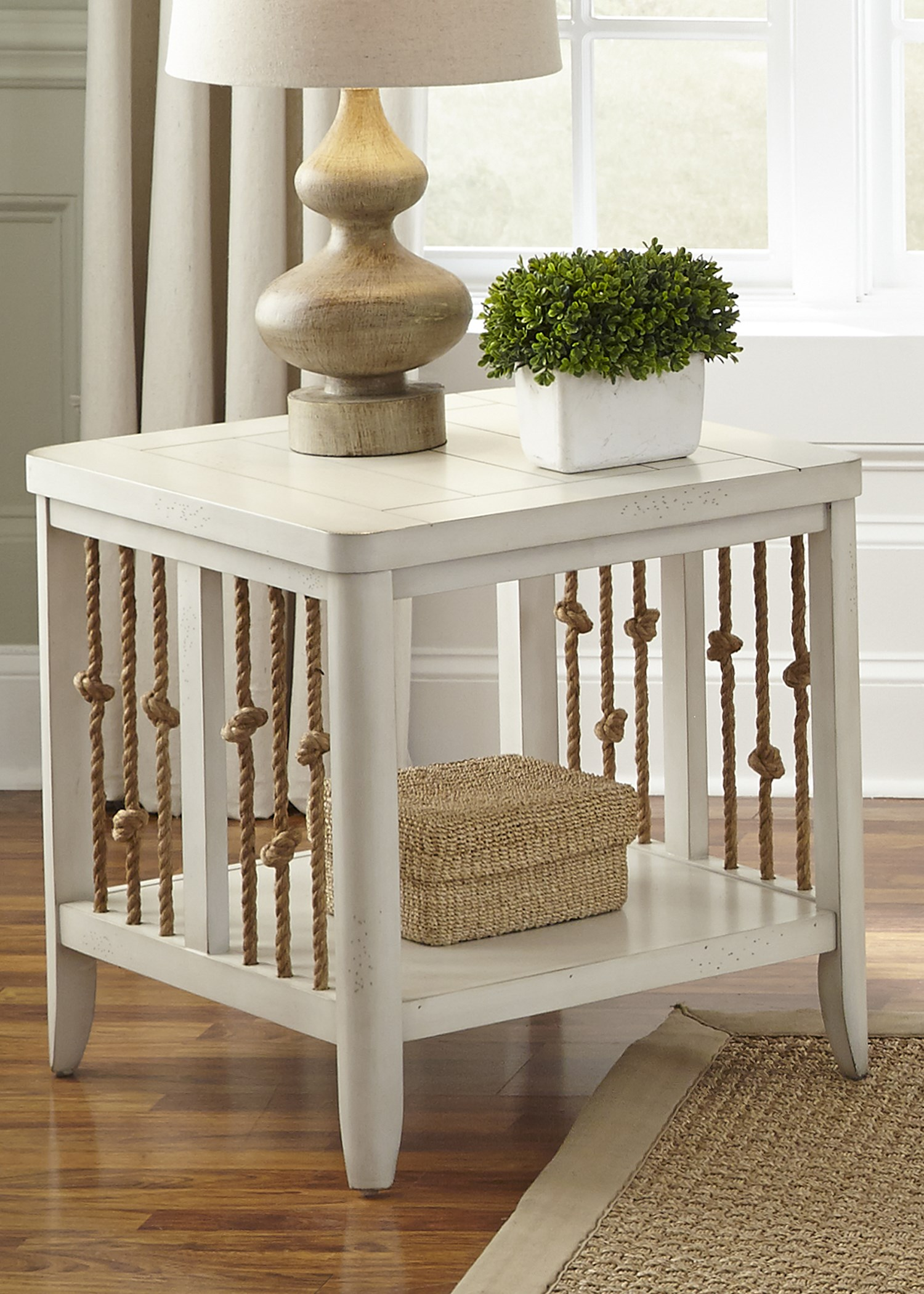 liberty furniture dockside ii coastal end table with rope accents