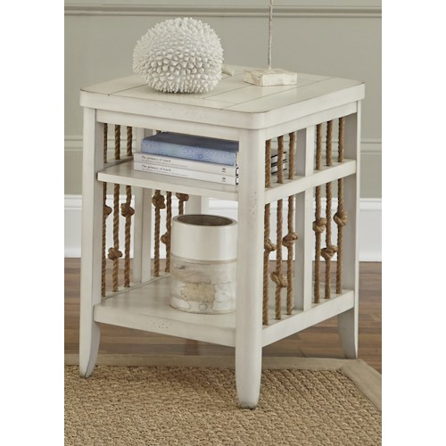 Liberty Furniture Dockside II Coastal Chair Side Table with Rope Accents