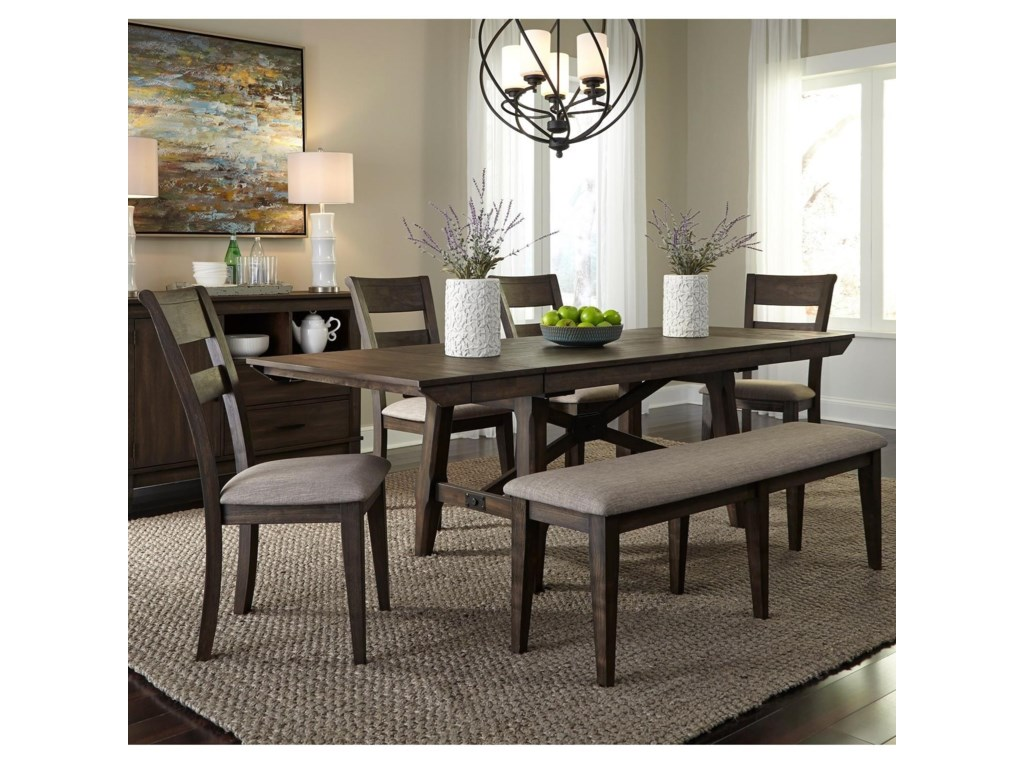 Liberty Furniture Double Bridge6 Piece Trestle Table Set