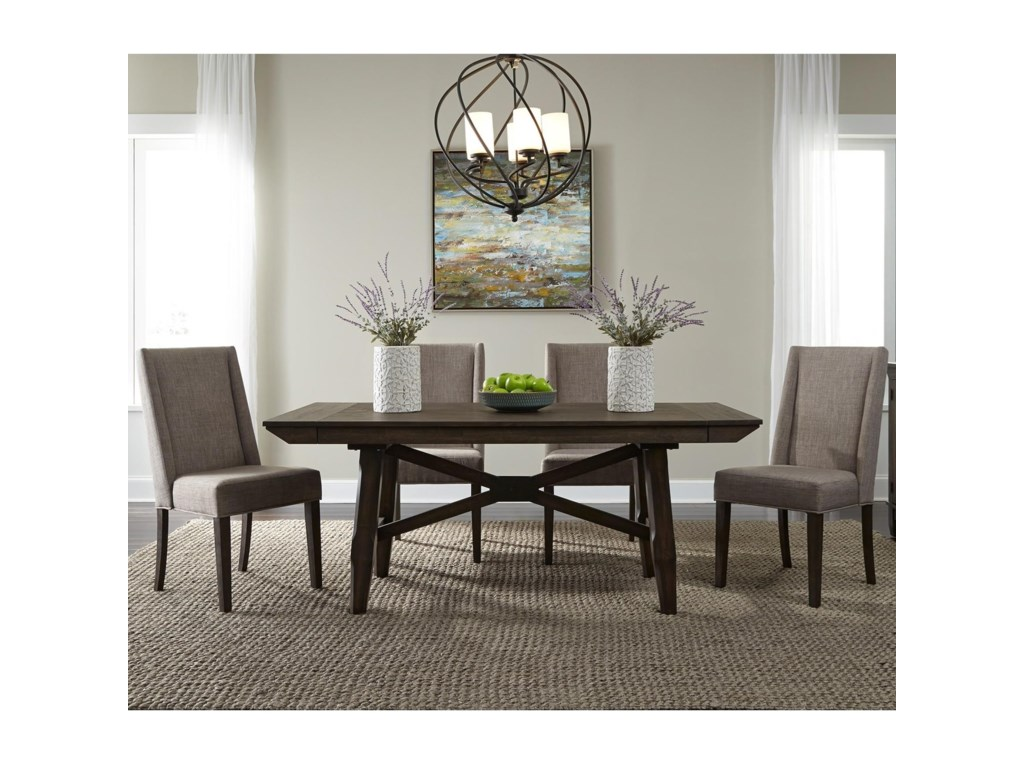 Liberty Furniture Double Bridge5 Piece Trestle Table Set