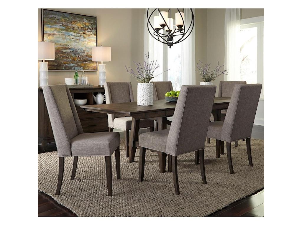 Liberty Furniture Double Bridge7 Piece Trestle Table Set