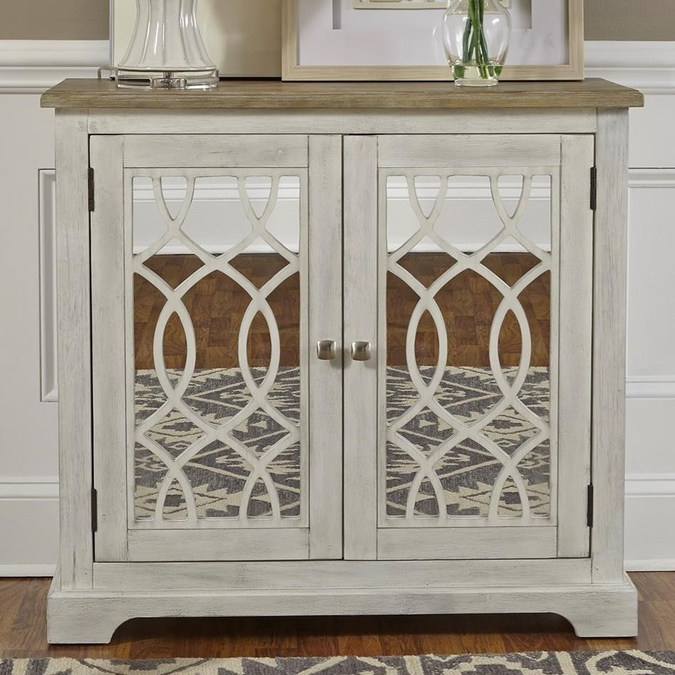 Liberty Furniture Eclectic Living Accents Relaxed Vintage 2 Door Mirrored  Accent Cabinet With Adjustable Interior Shelf