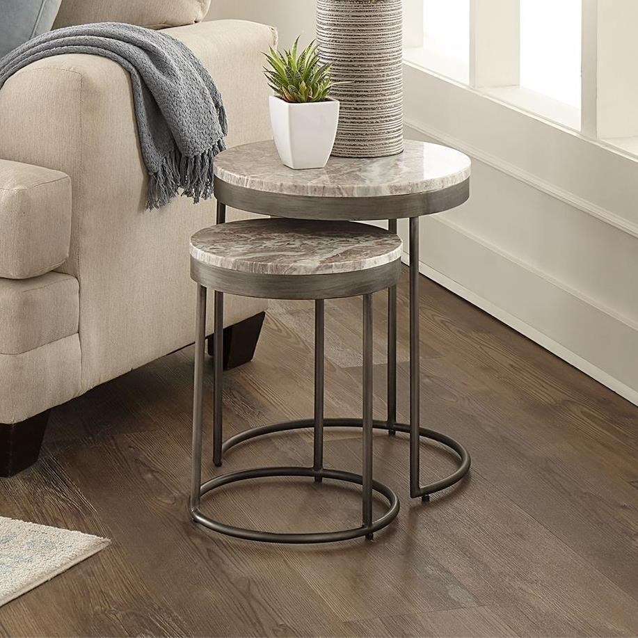 Contemporary Nesting End Tables with Marble Tops
