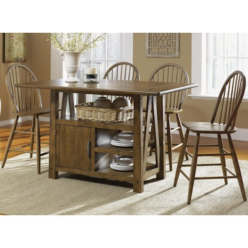 Liberty Furniture Farmhouse  5 Piece Island Pub Table and Windsor Back Counter Chairs Set