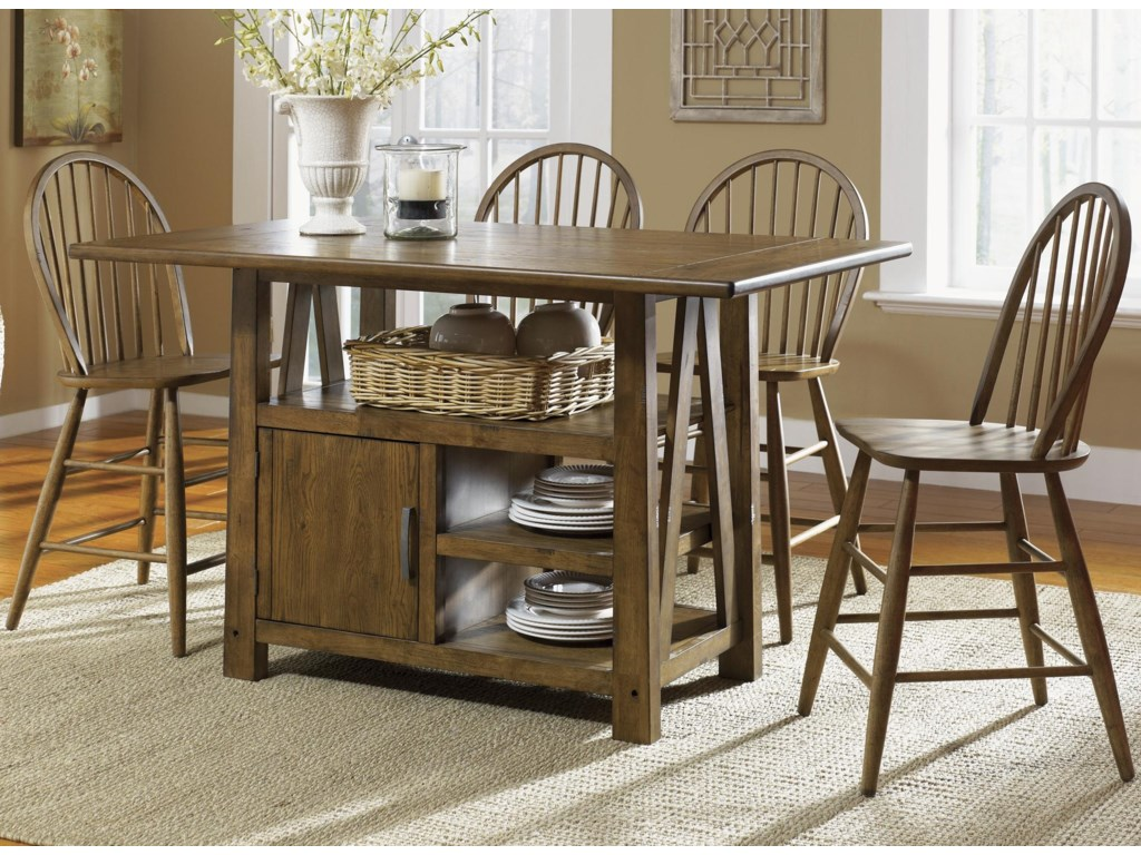 Farmhouse 5 Piece Island Pub Table and Windsor Back Counter Chairs ...
