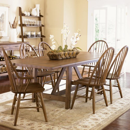Liberty Furniture Farmhouse  Seven Piece Trestle Table and Windsor Back Chair Set