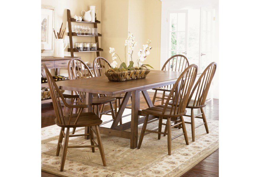 Farmhouse Seven Piece Trestle Table And Windsor Back Chair Set By Liberty Furniture At Liancemart
