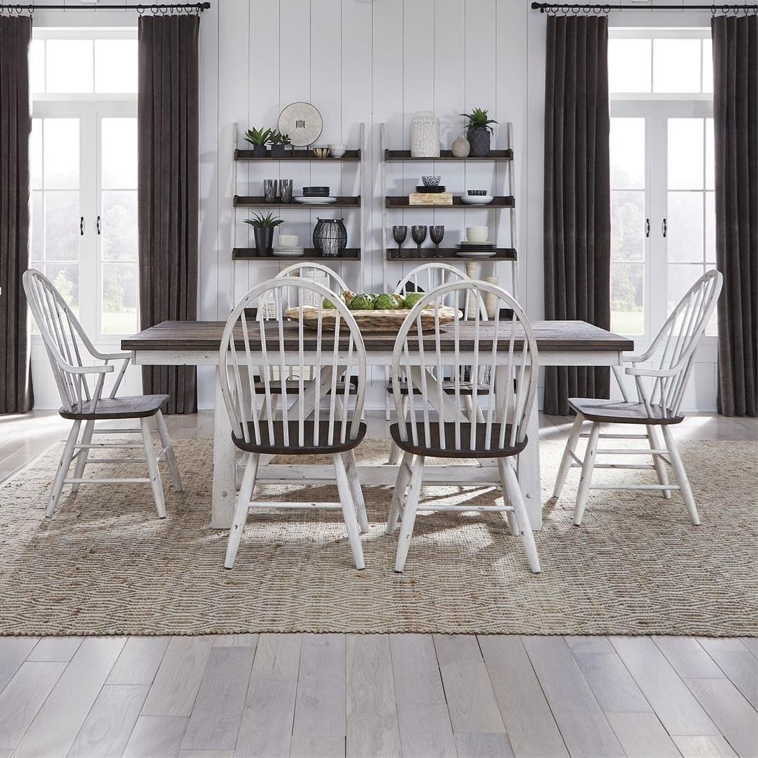 7-Piece Trestle Table and Windsor Back Chair Set