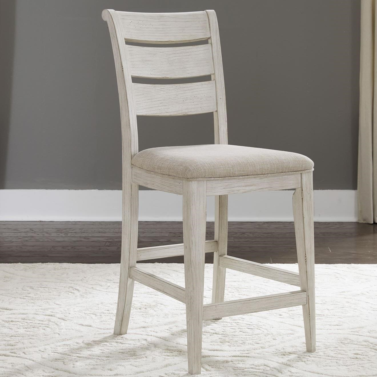 Relaxed Vintage Ladder Back Upholstered Counter Chair