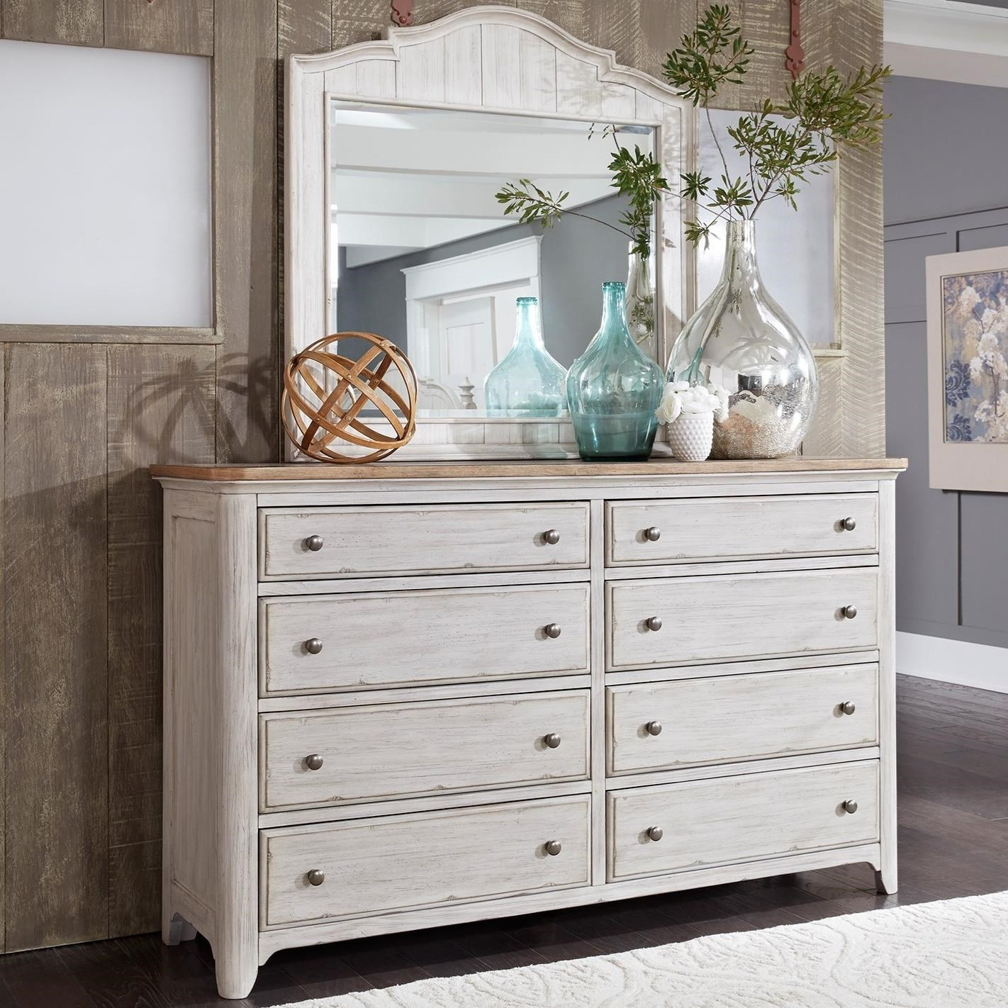 Liberty Furniture Farmhouse Reimagined Relaxed Vintage 8 Drawer Dresser  With Cedar Lined Bottom Drawers And Mirror