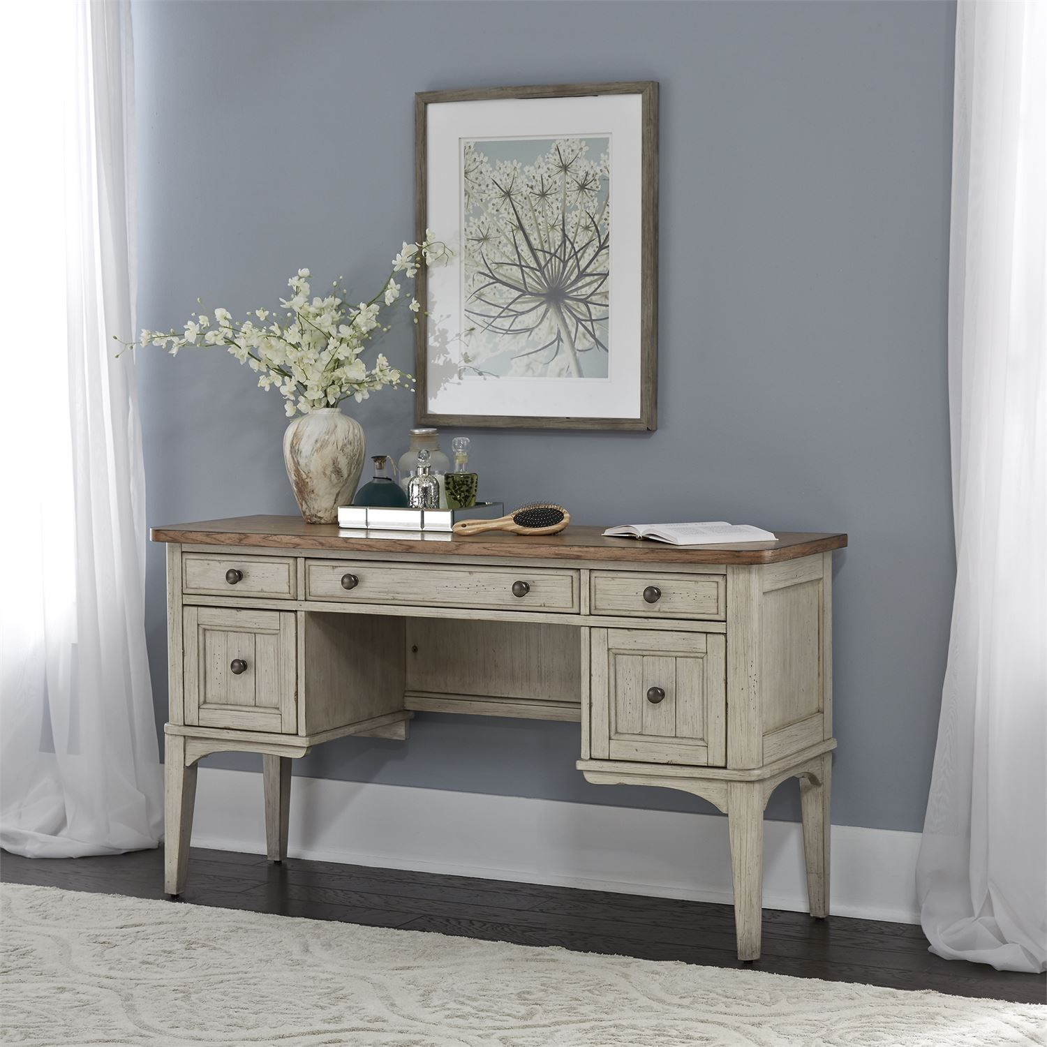 Liberty Furniture Farmhouse Reimagined Relaxed Vintage Two Toned Vanity Desk Sheely S Furniture Appliance Vanities Vanity Sets