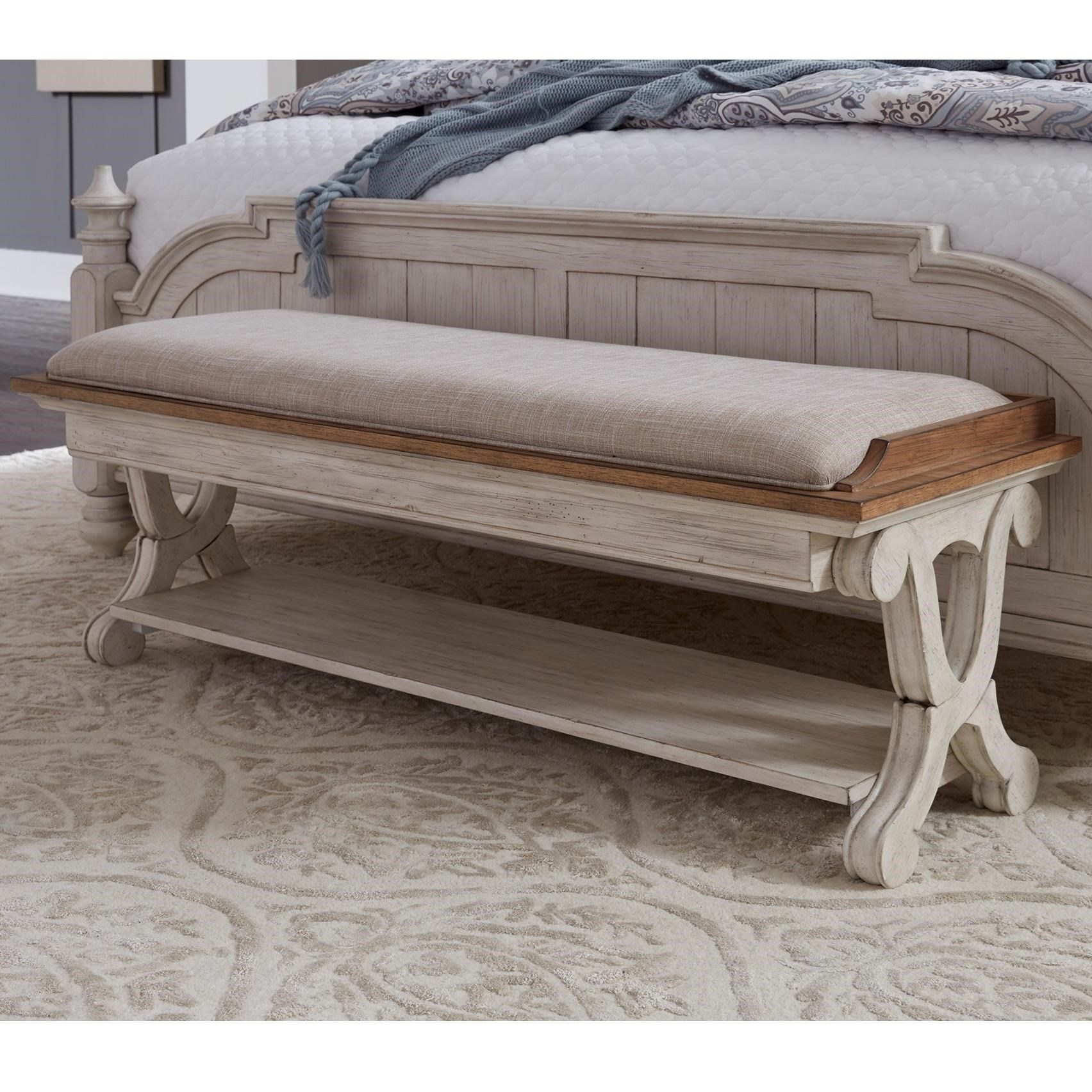 Charmant Farmhouse Reimagined Relaxed Vintage Bed Bench With Bottom Shelf By Sarah  Randolph Designs