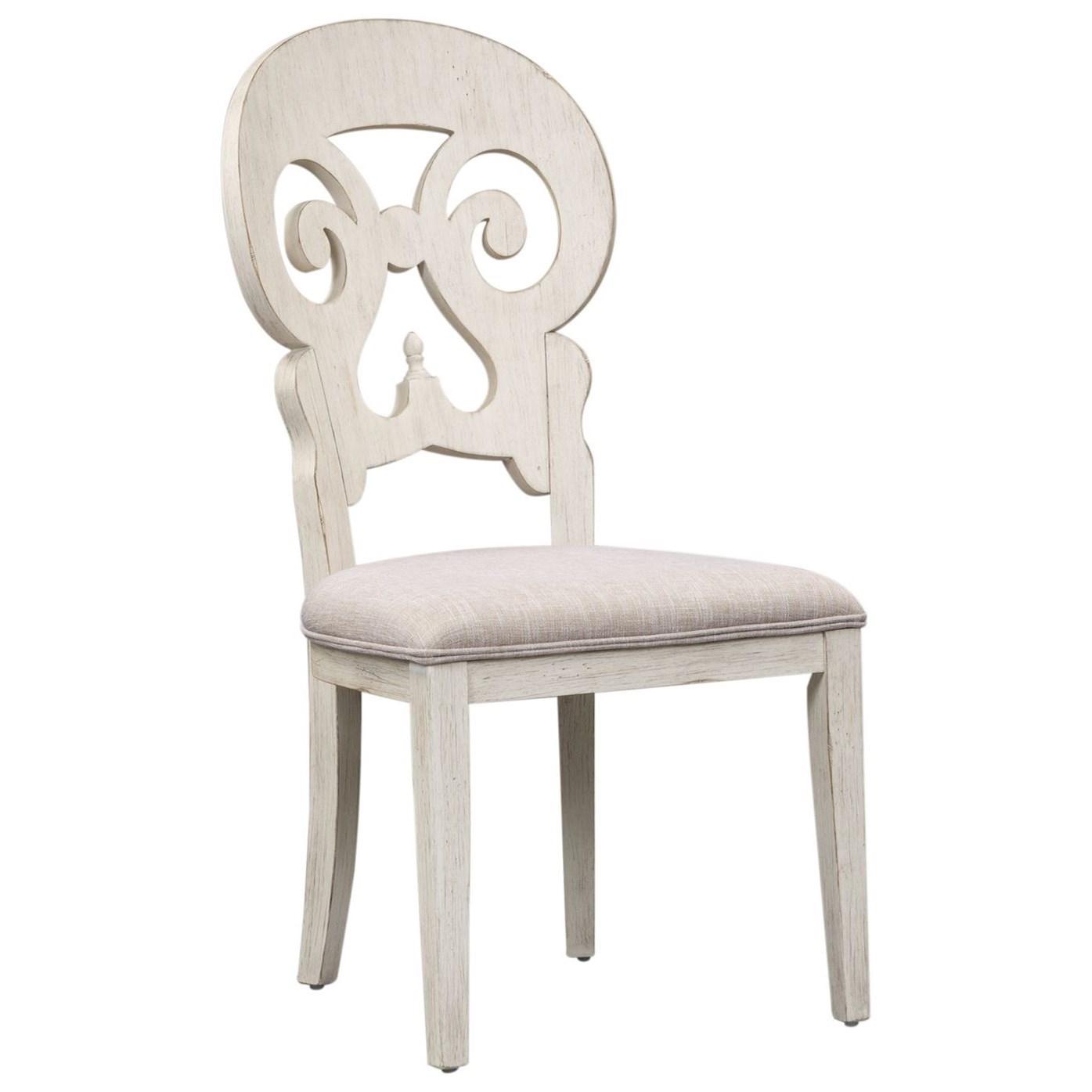 Relaxed Vintage Upholstered Splat Back Side Chair
