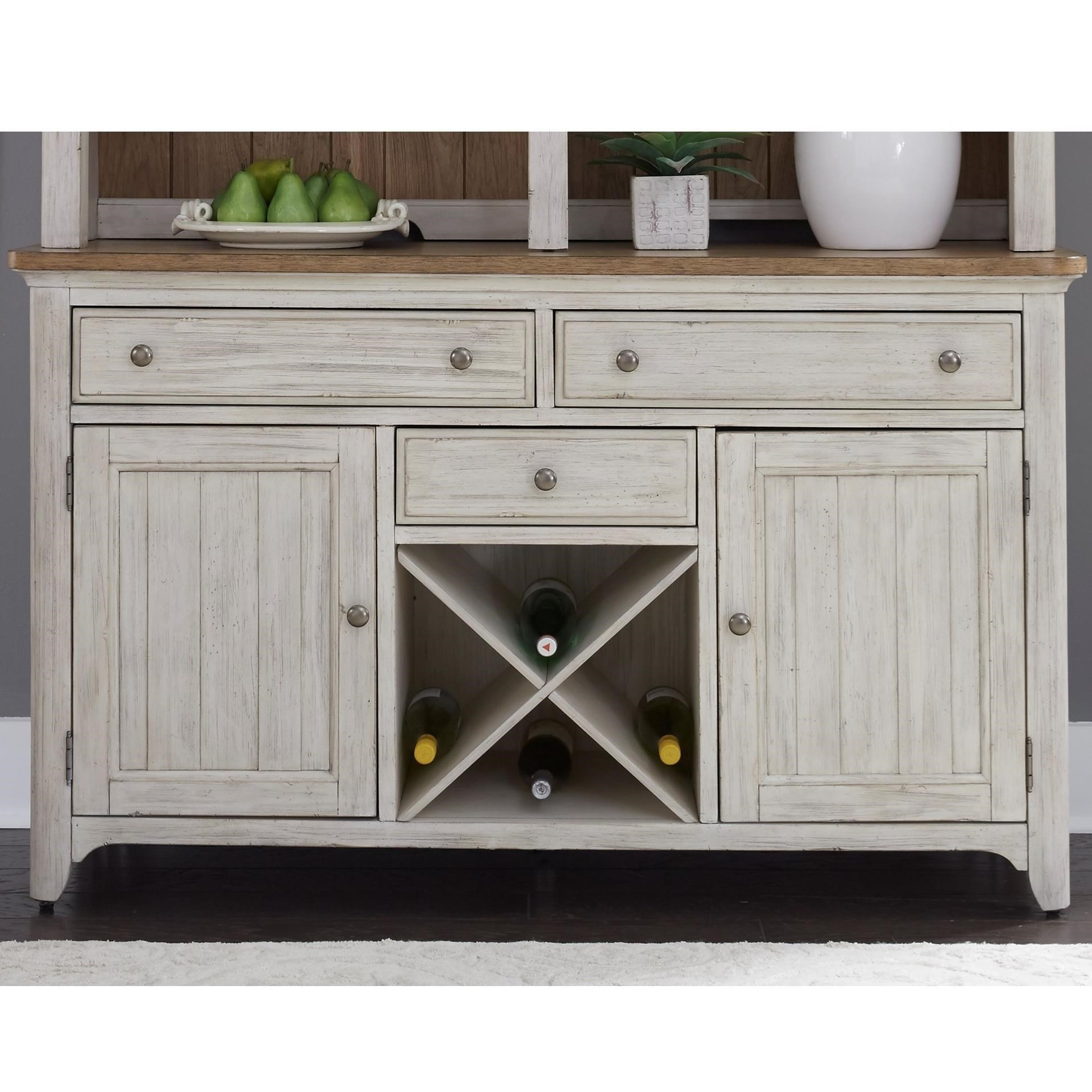 Liberty Furniture Farmhouse Reimagined Relaxed Vintage Buffet With  Removable Wine Storage Planks