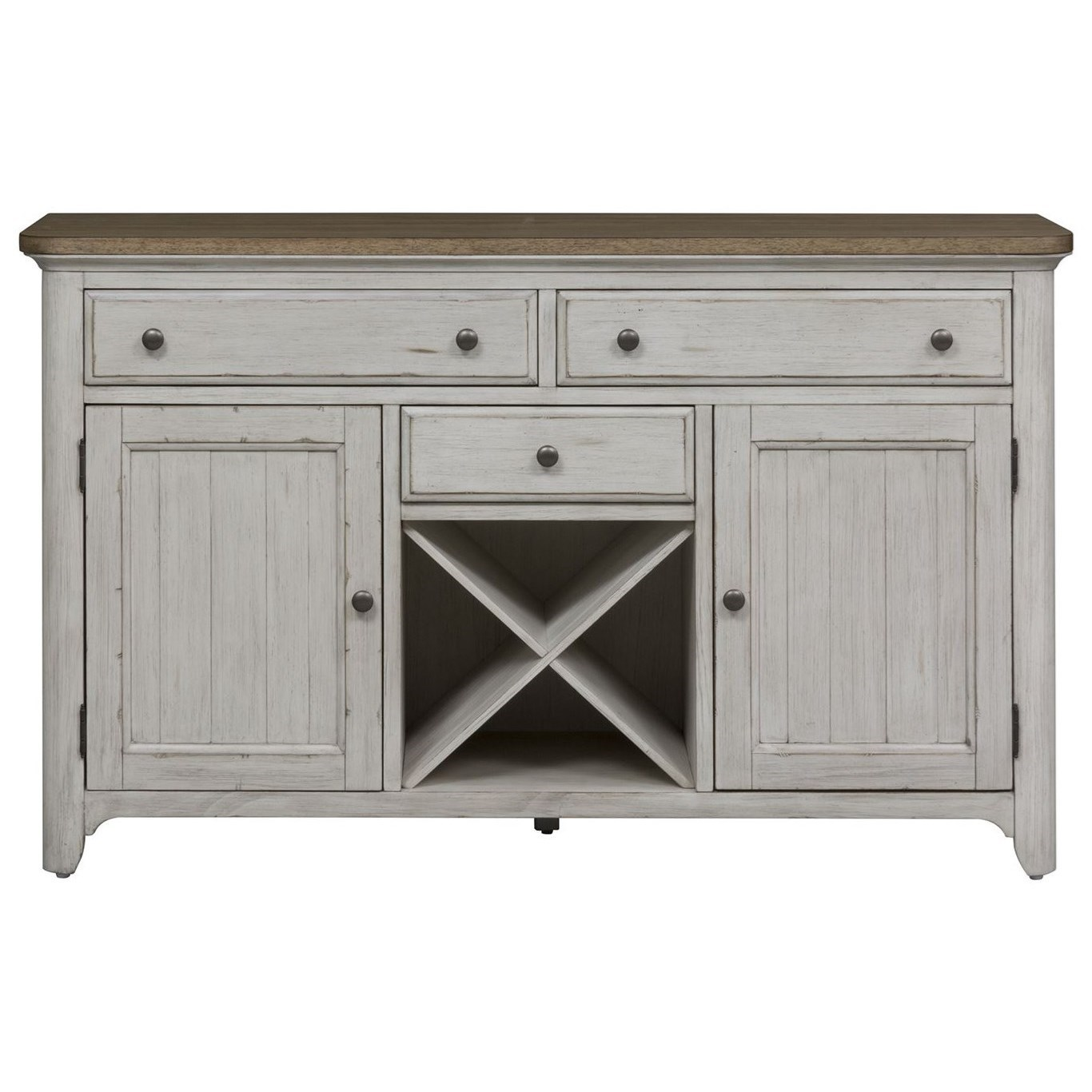 Liberty Furniture Farmhouse Reimagined Relaxed Vintage Buffet With Removable Wine Storage Planks Wayside Furniture Buffets