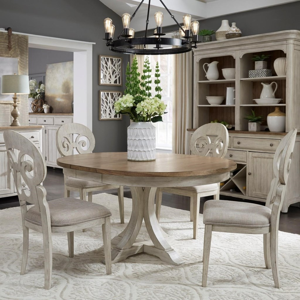 Liberty furniture farmhouse reimagined relaxed vintage 5 piece pedestal table set
