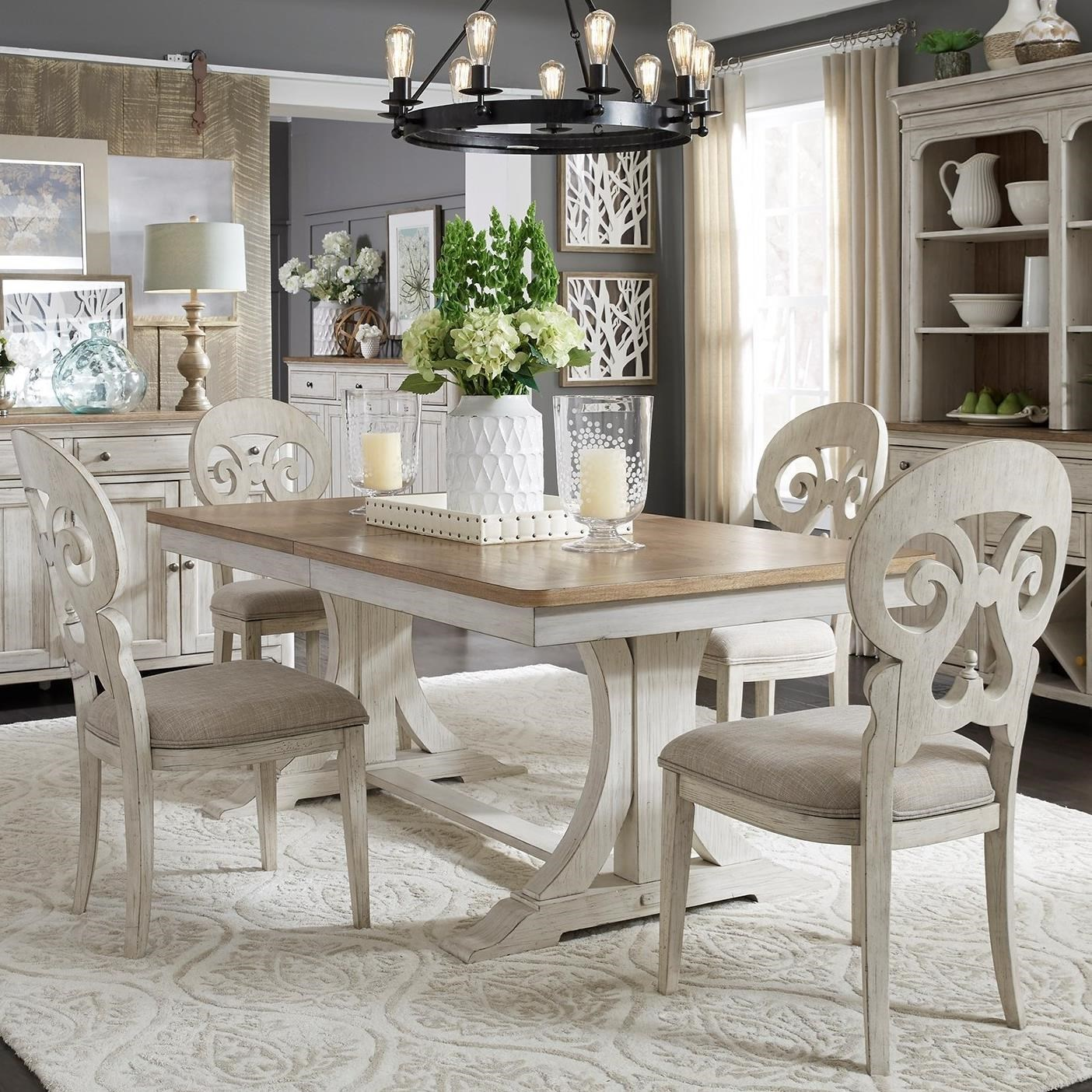 Image of: Liberty Furniture Farmhouse Reimagined Relaxed Vintage 5 Piece Trestle Table Set Royal Furniture Dining 5 Piece Sets