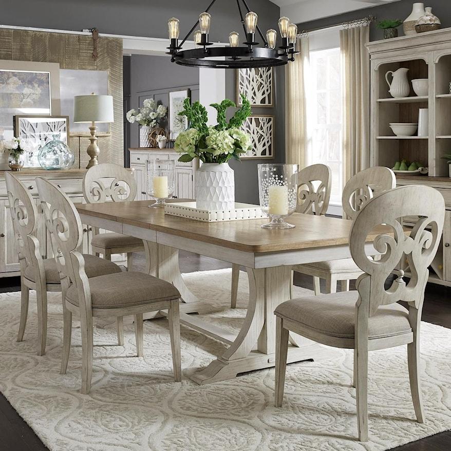 7 Piece Farmhouse Dining Table Set