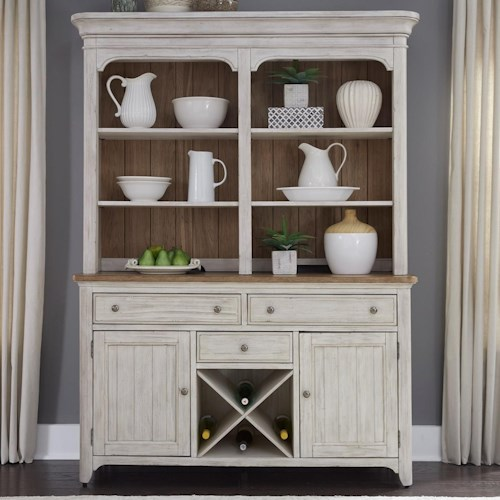 Liberty Furniture Farmhouse Reimagined Relaxed Vintage Hutch And Buffet With Fully Stained Interior Drawers
