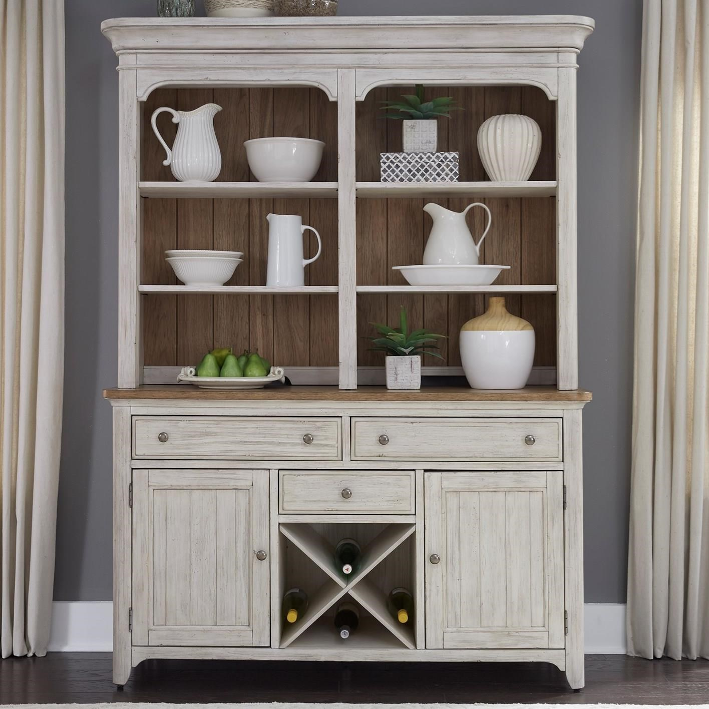 Beau Liberty Furniture Farmhouse Reimagined Relaxed Vintage Hutch And Buffet  With Fully Stained Interior Drawers