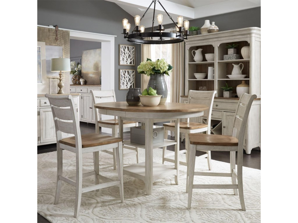 Liberty Furniture Farmhouse Reimagined5 Piece Gathering Table Set