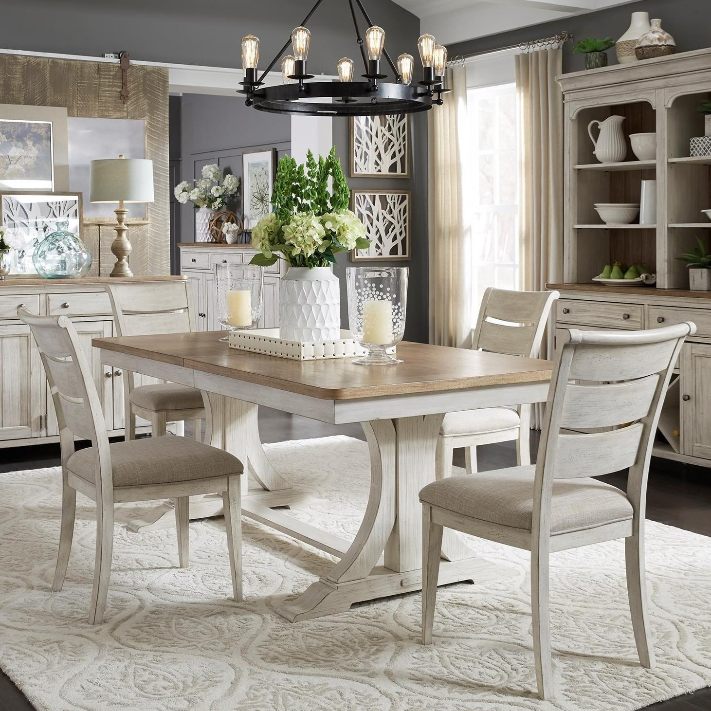 Relaxed Vintage 5-Piece Trestle Table Set