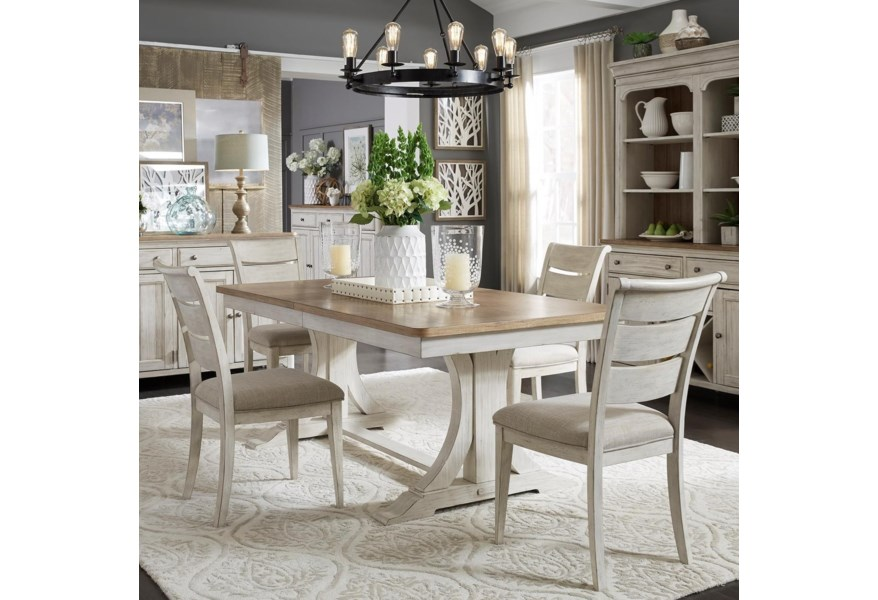 Liberty Furniture Farmhouse Reimagined Relaxed Vintage 5 Piece Trestle Table Set Darvin Furniture Dining 5 Piece Sets