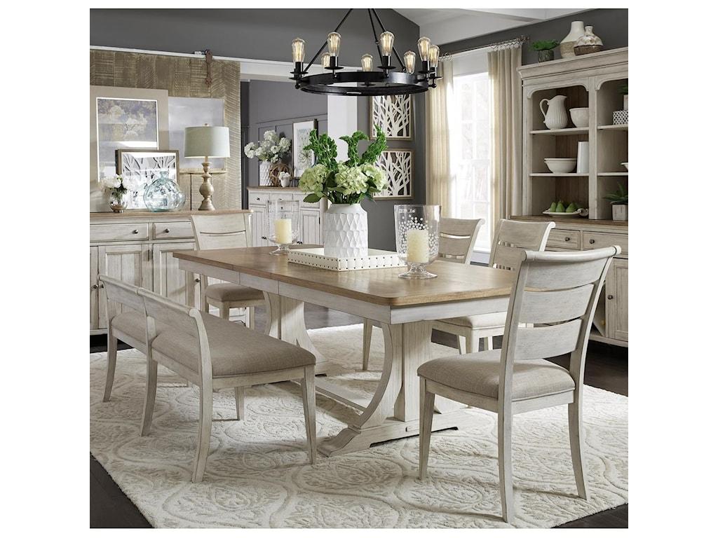 Liberty Furniture Farmhouse Reimagined6-Piece Trestle Table Set