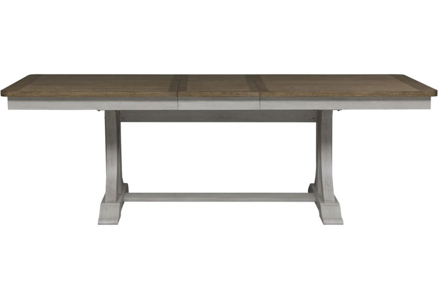 Liberty Furniture Farmhouse Reimagined Relaxed Vintage Trestle Table With 18 Removable Leaf Standard Furniture Dining Tables