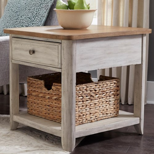 Liberty Furniture Farmhouse Reimagined Relaxed Vintage 1 Drawer End Table with Basket