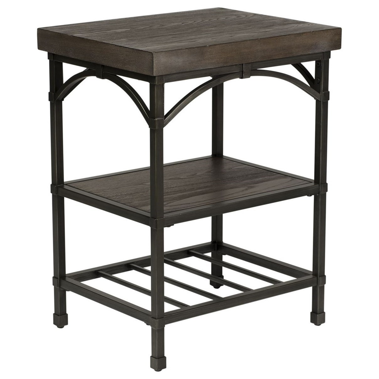 Chair Side Table with Metal Base