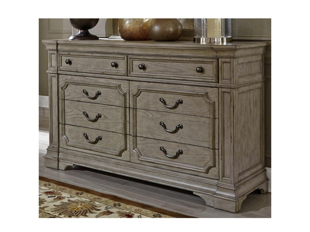 Liberty Furniture Grand Estates Traditional 8 Drawer Dresser With Felt Lined Top Drawers