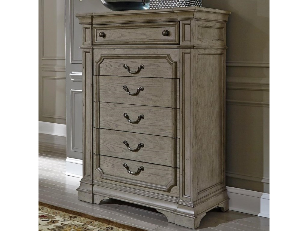 Liberty Furniture Grand Estates Traditional 6 Drawer Chest Of Drawers With Felt Lined Top
