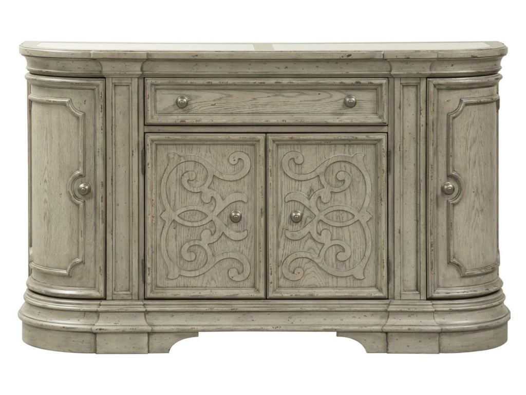 Liberty Furniture Grand Estates Tradtional Four Door Buffet With Travertine Marble Inserts