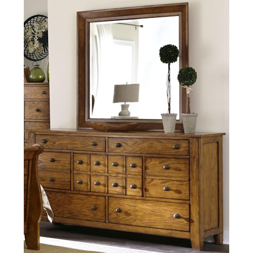 Liberty Furniture Grandpa's Cabin Dresser and Mirror Set with 7 Drawers