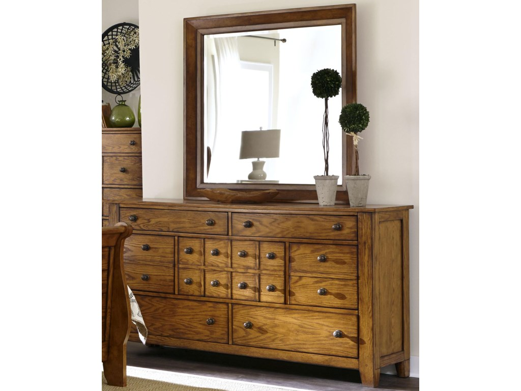 Liberty Furniture Grandpa's CabinDresser and Mirror Set