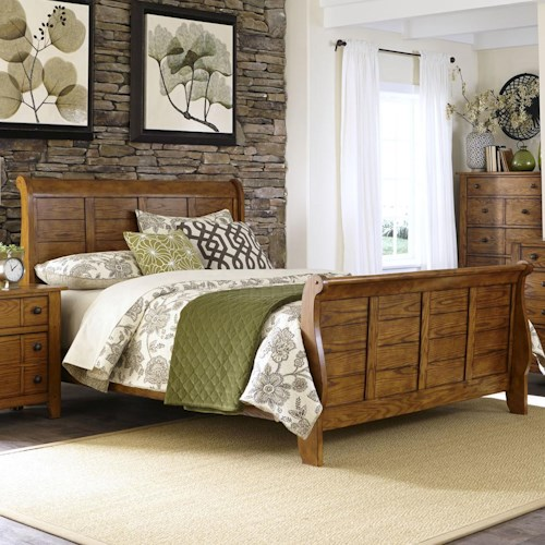 Liberty Furniture Grandpa's Cabin Queen Sleigh Bed with Paneling