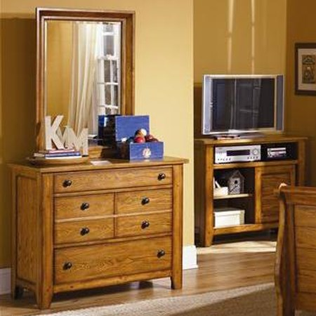 Three Drawer Dresser and Mirror
