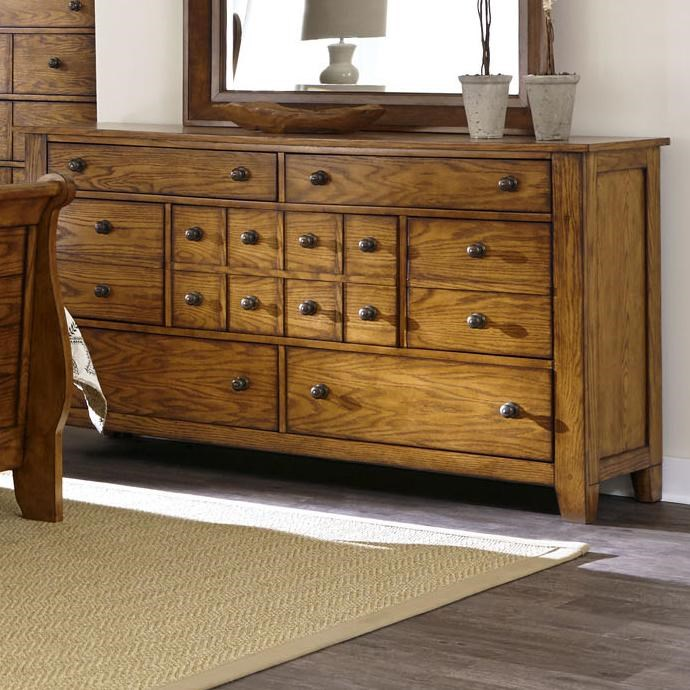 7 Drawer Dresser with Tapered Block Feet