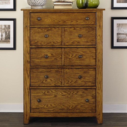 Liberty Furniture Grandpa's Cabin 5 Drawer Chest with Wood and Peg Accents
