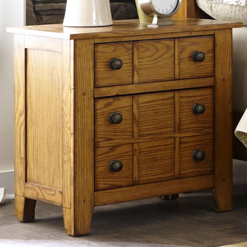 Liberty Furniture Grandpa's Cabin Drawer Night Stand with Wood and Peg Accents