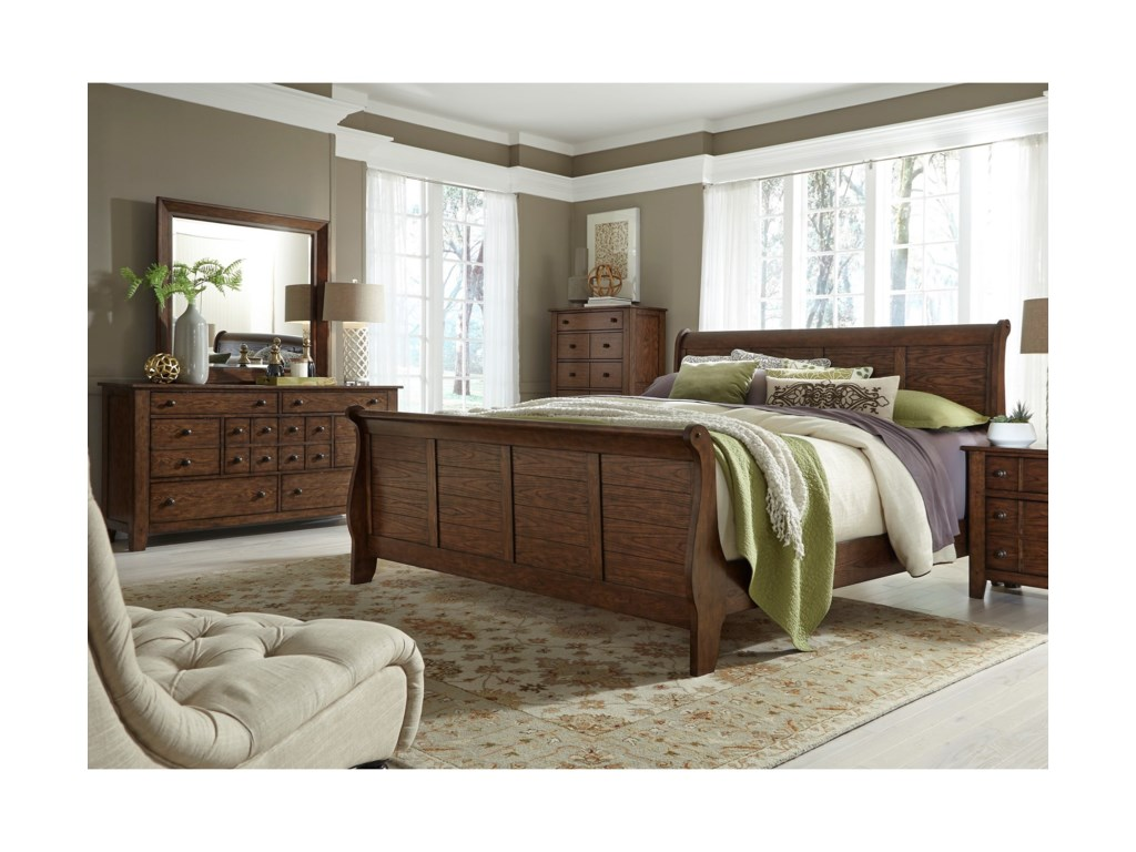 Liberty Furniture Grandpa's CabinQueen Sleigh Bed, Dresser & Mirror